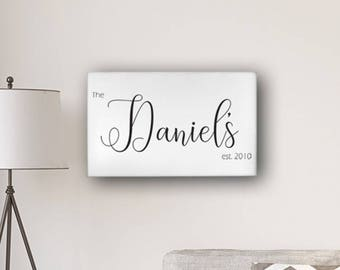 "Personalized Last Name Modern Farmhouse 14"" x 24"" Canvas - Personalized Print - Framed Art - Wall Art Decor - Farmhouse Print"