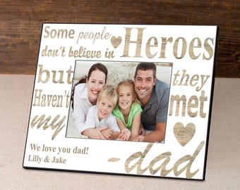 Personalized My Hero Father's Day Frame - Father's Day Gifts - Dad Photo Frames - Father Picture Frames - Personalized Dad Photo Frames