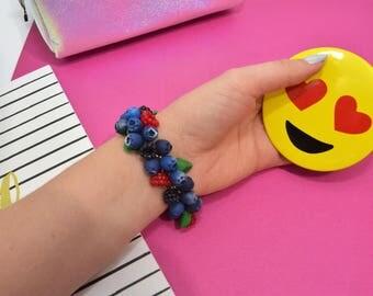Berry handmade bracelet, blueberry  bracelet, princess bracelet, gift for her, Christmas gift, birthday gift, Bracelet handmade