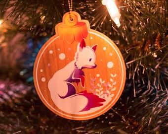 White Fox - wooden Christmas Decoration