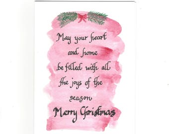 Hand lettered calligraphy - Christmas card