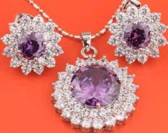 Purple Amethyst White Topaz Silver Necklace Earrings Jewelry Set Bridal