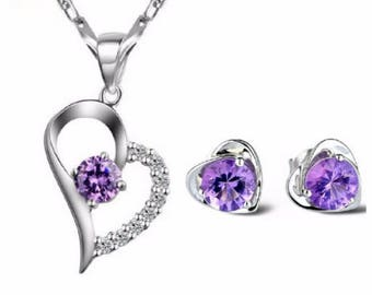 Crystal heart Jewelry Sets 925 Silver plated Heart Purple Necklace & Earrings