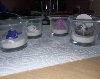 Beaded animals in glass-deco