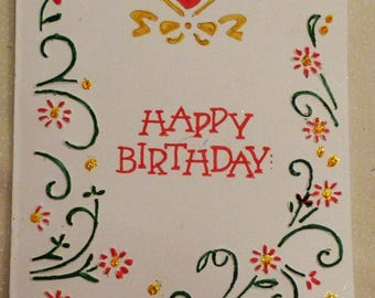 Happy Birthday Embossed Greeting Card, Handmade Greeting Card, Colorgul Card,  Made in the USA, #100