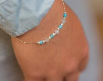 Small Gemstones Bracelet, Multicolor Bracelet, Minimalist Bracelet, Colorful Bracelet, Layering Stacking 925 Bracelet, Turquoise Bracelet
