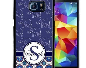 Personalize Rubber Case For Samsung Note 3, Note 4, Note 5, or Note 8- Blue Elephant Mosaic