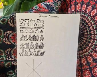 Henna Flower Elements- Template