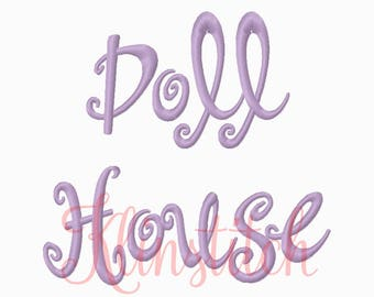 50% Sale!! Doll House Embroidery Fonts 3 Sizes Fonts BX Fonts Embroidery Designs PES Fonts Alphabets - Instant Download