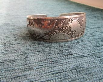 Dragon phoenix silver Indian bracelet