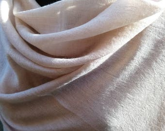 100% Cashmere Shawl in Almond colour Jacquard weave.