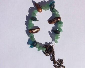 Blister Pearl and Jade Bracelet