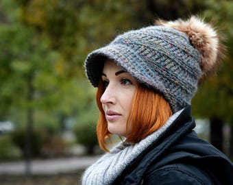 Hand knit wool winter hat, hand knitted  womens hat, womens crochet hat, crochet hat women, adult crochet hat, crochet winter hat!