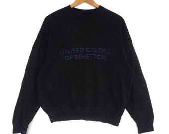 United Colour Of Benetton Sweatshirt Big Logo Embroidery Sweat Medium Size Jumper Pullover Jacket Sweater Shirt Vintage 90's