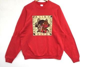 Vintage!! London England Rainy Days Sweatshirt Red Colour Big Logo Pull Over