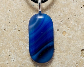 Blue Streaky Fused Glass Pendant