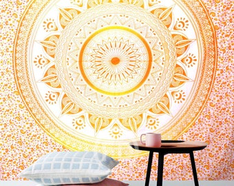 Boho Queen Size Mandala Tapestry - Orange Sun
