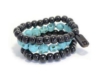 Turquoise Skull/Wood Bracelet Set