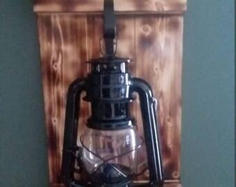 wooden lattern holder with oil lattern