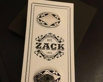 Zack Oval Silver Tone Scroll Cufflinls