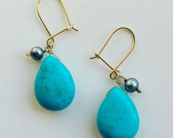 Solid 9ct Gold Turquoise and Pearl Accent Drop Earrings, Classic, Simple, Elegant