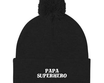Papa Superhero Pom Pom Knit Cap