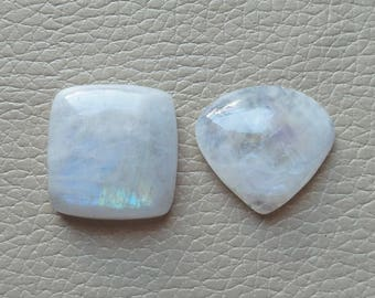 Natural White Rainbow 73 Carat 2 Piece Lot Gemstone, Gemstone Size 25x25x9, 25x27x9 MM Approx, White Rainbow Gemstone Wholesale Supply.