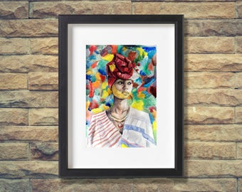 Colourful Portrait Watercolour Art Print