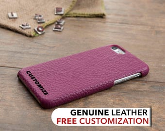 Leather iPhone 7 Case, Personalized iPhone 7 Plus Cover, Genuine Leather Case for iPhone 7 / 7 Plus, iPhone 7 Custom Engrave Case, Pink