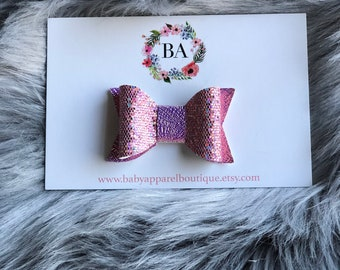 Baby Girl Pink Iridescent Hair Bow