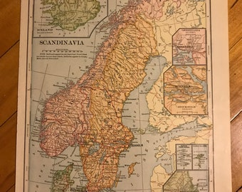 Map of Scandinavia Vintage Iceland, Norway, Sweden, Denmark, Finland