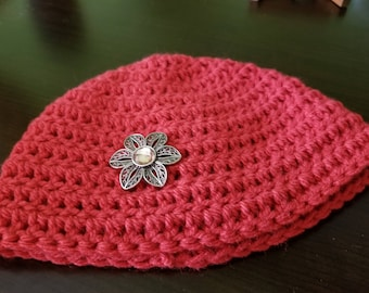 Embellished Hand Crocheted Child's Hat