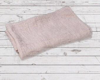 Pink linen bath towel, linen waffle towel, washed linen bath, large bath linen towel, waffle bath towel