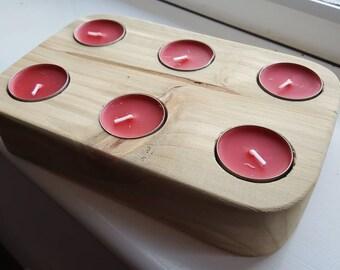 Handmade Wooden Tea Light Holder