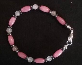Rhodonite, Moonstone & Hematite Bead Bracelet
