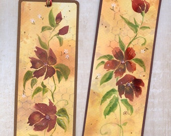 Flower watercolor bookmark original art