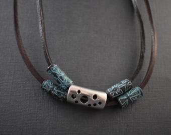 Necklace bib style - Brown leather and bronze turquoise patina