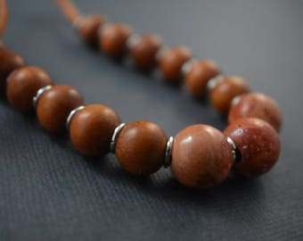 Necklace - Casual elegance beaded necklace. Red wood and orange turquoise beads