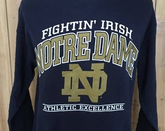 Vintage University of Notre Dame Fighting Irish NCAA 80s Nutmeg Mills 1980s College Sweatshirt - vintage sweatshirt (Large)