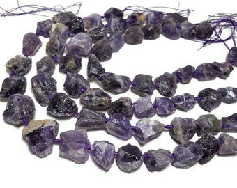 Raw Amethyst Purple Quartz Beads Necklace Jewelry Raw Quartz Crystal Beads Pendants Supplies Nugget Loose Stone Drilled Healing Crystals