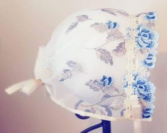 Amelia: Lace Bonnet _____ Christmas Gift Baby Girl, Blue Bonnet, Baby Shower, Baby present, Baby girl