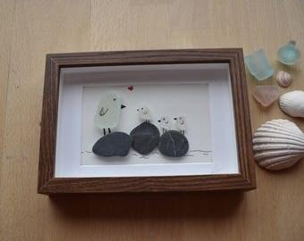 Mummy Bird and Babies, sea glass art, framed