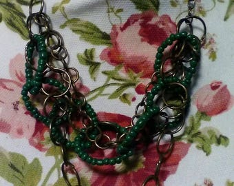 Green Rustic Rings Brass Necklace