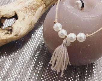 Bracelet adjustable cord with pearls and beige tassel (customizable)