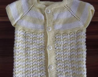 Yellow and white Wool Vest