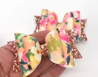 Floral faux suede & glitter Medium Dolly hair bow clip headband