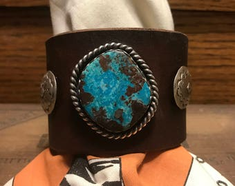 Bisbee Kirpach Bracelet with Randy Shorty sterling conchos