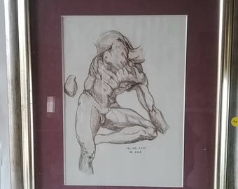 Nude study drawing inspiration from Michel Angel