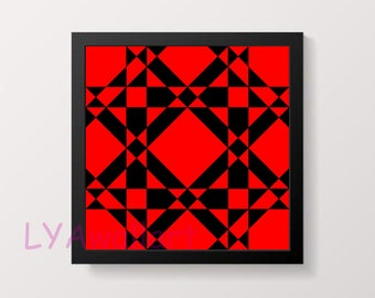 Red and Black Geometric  Abstract Wall Art Printable Instant Download Digital Art