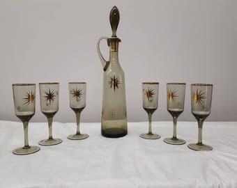 Decanter liquor and glasses ATOMIC